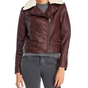 Lucky Brand Women's Sherpa Trim Faux Leather Jacke
